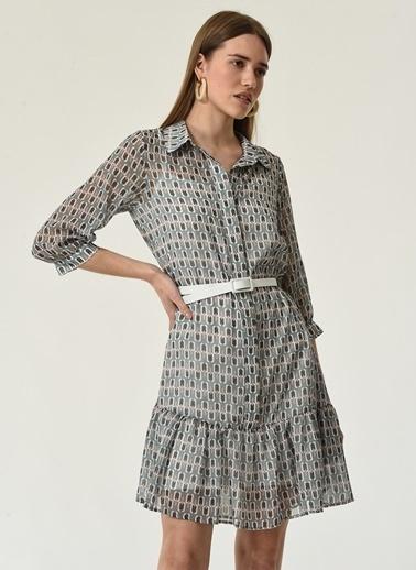 NGSTYLE NGSTYLE Kadın Geometrik Desenli Katlı Gömlek Elbise Haki